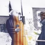»Gartenzaun mit drei Zypressen«   1984   Lithographie in 3 Farben