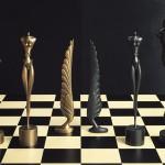 »Schachfiguren«   1984   Bronze (Wachsguss)   Vergoldet bzw. dunkelbraun patiniert