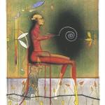 »Der Spiralenmaler«   1999   Lithographie in 8 Farben