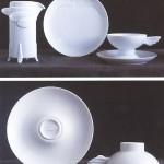 »Leda« Sahnekännchen, Teller, Teetasse und Untertasse   1985   Weißes Porzellan