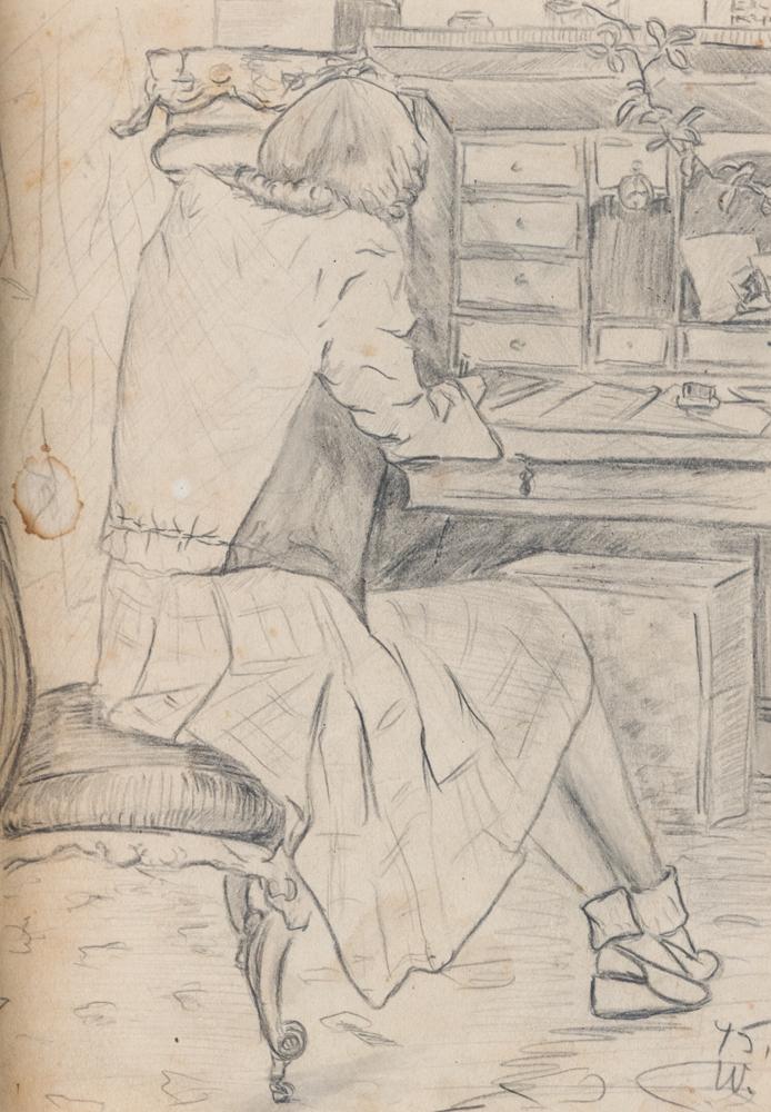 1945 | Mutter am Schreibsekretär sitzend