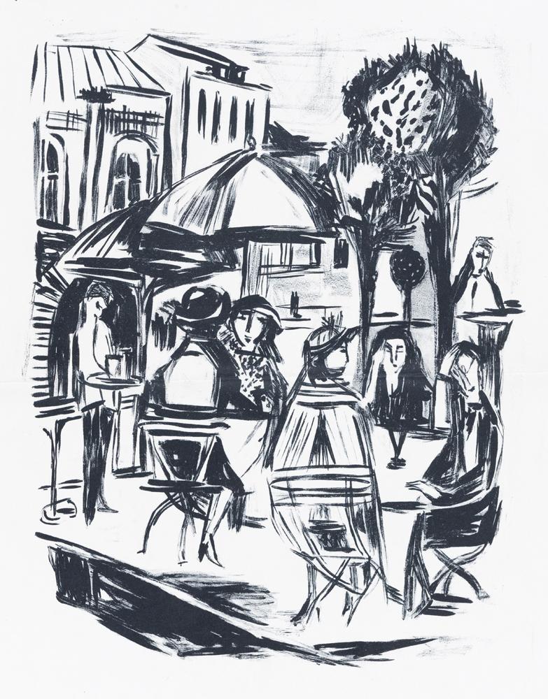 1949 | Fünf Damen im Straßencafé